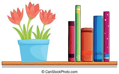 houten, plank, pot, bloem, boekjes