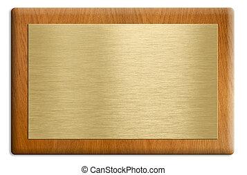 houten, plaque, met, gouden, schaaltje, vrijstaand, op,...