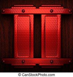 houten, pollished, metaal, bachkround, rood