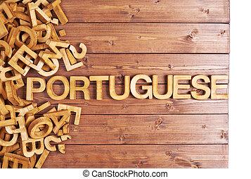 houten, portugees, gemaakt, woord, brieven