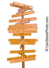 houten post, leeg teken