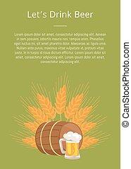 houten, poster, drank, lets, bier, drank, vat