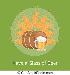 houten, poster, glas, bier, hebben, afbeelden, vat