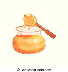 houten, pot, illustratie, honing, glas, waterspreeuw, vector, spotprent
