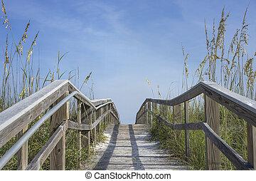 houten, promenade, steegjes, om te, zomer vermaak