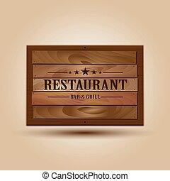 houten, realistisch, vector, signboard, illustratie