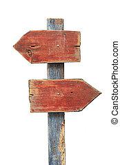 houten, richtingbord, vrijstaand, op wit, achtergrond,...
