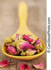 houten, roos, lepel, bloemen, thee