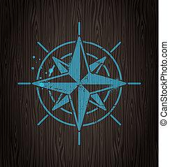 houten, roos, muur, vector, kompas, schilderij