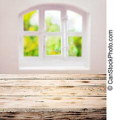 houten, rustiek, lege, schoonmaken, tafel, scrubbed, keuken