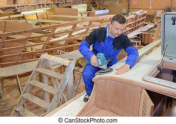 houten, sander, man, scheepje, gebruik