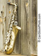 houten, saxofone, omheining