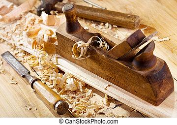 houten, schaaf, oud