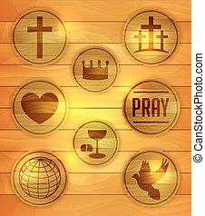 houten, set, godsdienstige illustratie, iconen