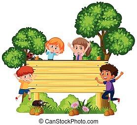 houten, signboard, kinderen, vrolijke
