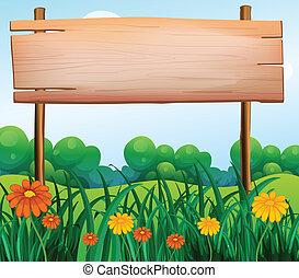 houten, signboard, tuin