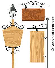 houten, signboard, verzameling, leeg