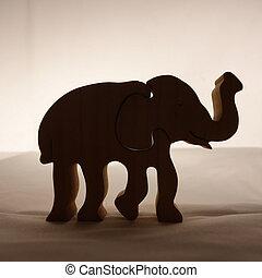 houten, silhouette, elefant