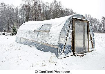 houten, sneeuw, broeikas, zelfgemaakt, polytheen, doe het...