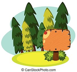 houten, spandoek, groen bos