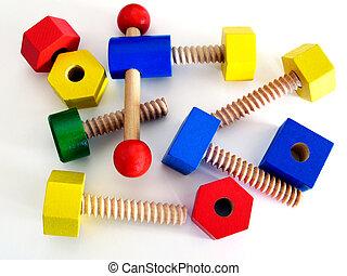 houten speelgoed, gekleurde