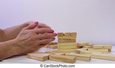 houten, spel, vrouw, blokjes, toren