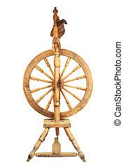 houten, spinnend wiel