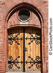 houten, staal, fitting, deur