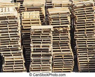 houten, stapel, pallets