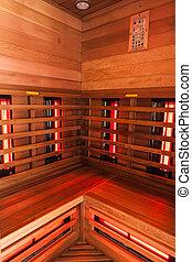 houten, stoomcabine, interieur