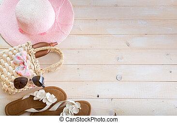 houten, strand, accessoires, achtergrond
