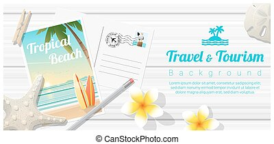 houten, strand, reizen, tropische , 3, plank, achtergrond, postkaarten, toerisme