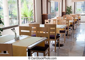 houten, tafels, interieur, koffiehuis
