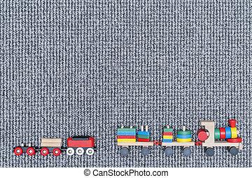 houten, tapijt, kinderen, treinen