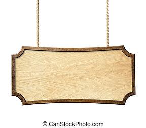 houten teken, hangend, kabels, vrijstaand, op wit