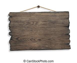 houten teken, hangend, koord, en, spijker, vrijstaand