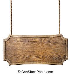 houten teken, hangend, koord, vrijstaand, op wit, achtergrond