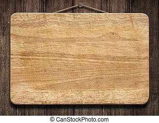 houten teken, hangend, oud, muur