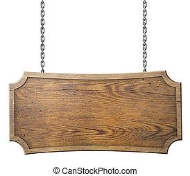 houten teken, op, ketting, vrijstaand, op wit