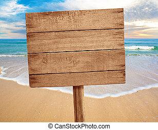 houten teken, op, strand, achtergrond