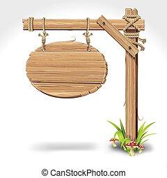 houten teken, plank, hangend, met, koord