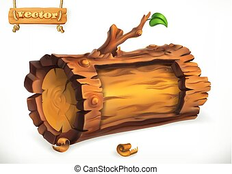 houten, teken., vector, logboek, 3d, pictogram
