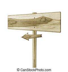 houten teken, vrijstaand, op, een, witte achtergrond