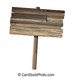 houten teken, vrijstaand, op, white., hout, oud, grondslagen, teken.