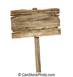 houten teken, vrijstaand, op wit, achtergrond