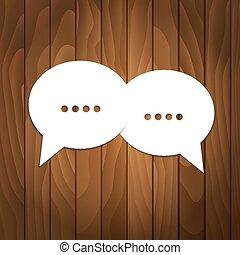 houten, tekstballonetje, achtergrond