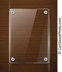 houten textuur, met, glas, framework., vector, illustratie