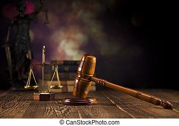 houten, thema, rechter, wet, slaghamer
