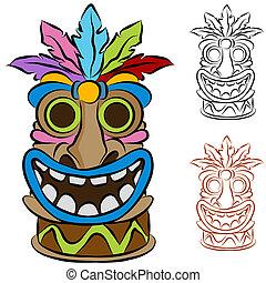 houten, tiki, van een stam, idool