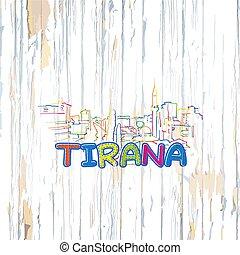 houten, tirana, achtergrond, kleurrijke, tekening